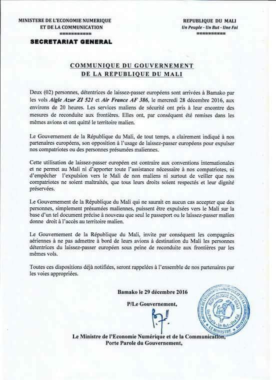 refus LP UE Mali